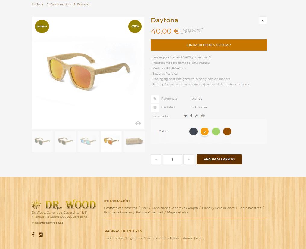 diseño ecommerce gafas